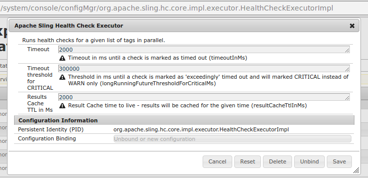 System live monitoring with Apache Sling health checks tools