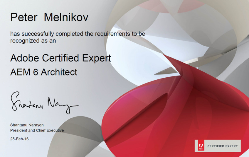 The first certified AEM / CQ Architect in Belarus
